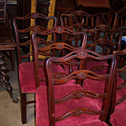 Mahogany Finish Dining Chairs, Chippendale Style Ladder or Ribbon Back