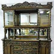 Oak Sideboard, Carved, Upper Beveled Glass Doors