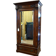 Walnut Victorian Wardrobe, Single Beveled Mirror Door