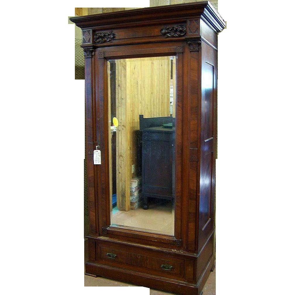 walnut eastlake victorian wardrobe single beveled mirror. Black Bedroom Furniture Sets. Home Design Ideas