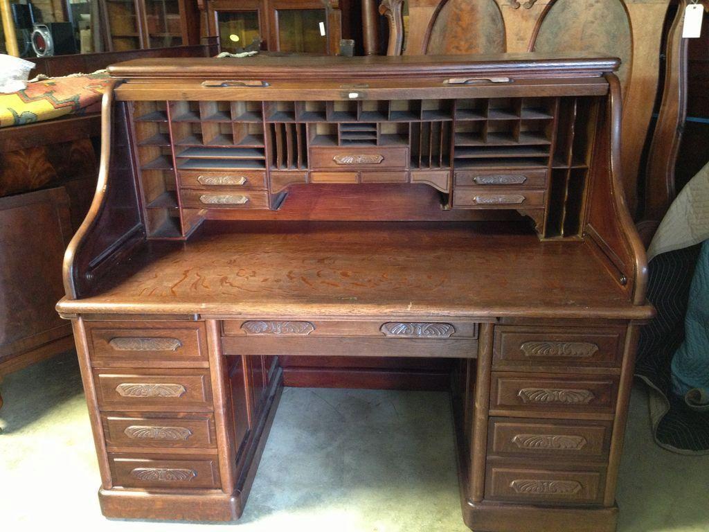 Oak Roll Top Desk S Curve Carved Pulls Raised Panels