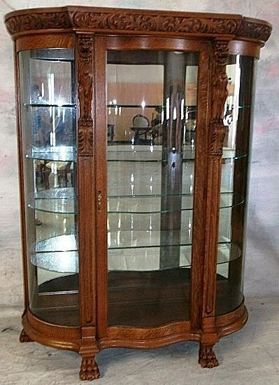 Oak Curved Glass China Cabinet Carved Griffins from  : rk2911L from www.rubylane.com size 399 x 550 jpeg 47kB