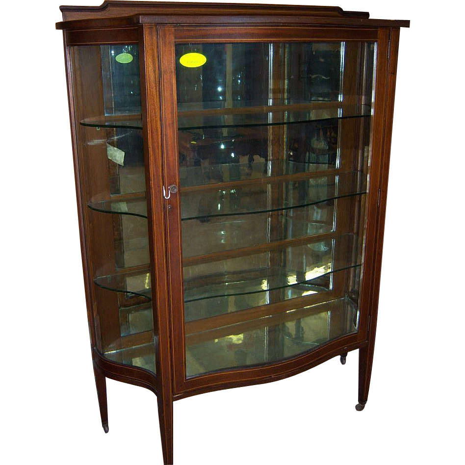 mahogany china cabinet serpentine glass hepplewhite style from