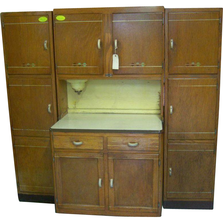 Oak Sellers Brand Kitchen Work Center Hoosier Type Cabinet From