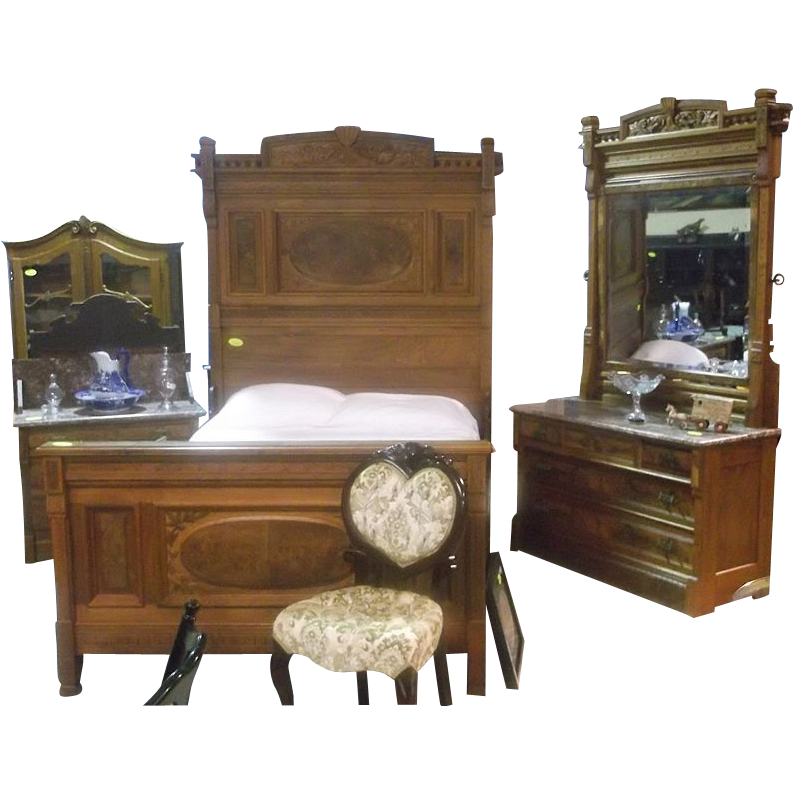 walnut eastlake victorian marble top bedroom suite from