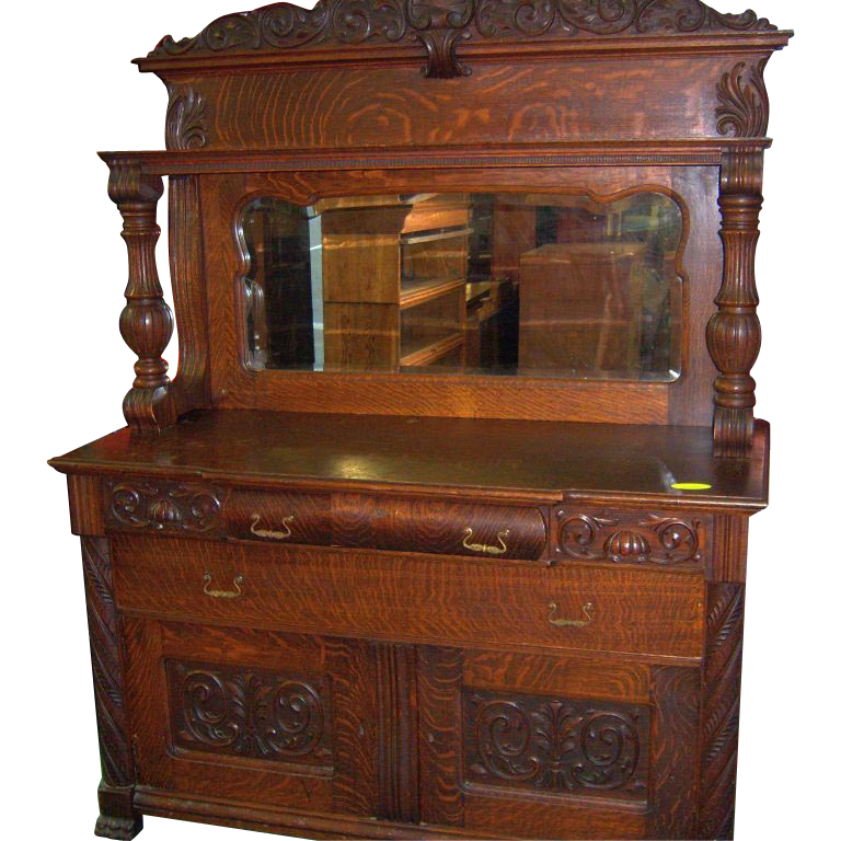 Oak Sideboard Buffet Mirror And Carvings 1890 From