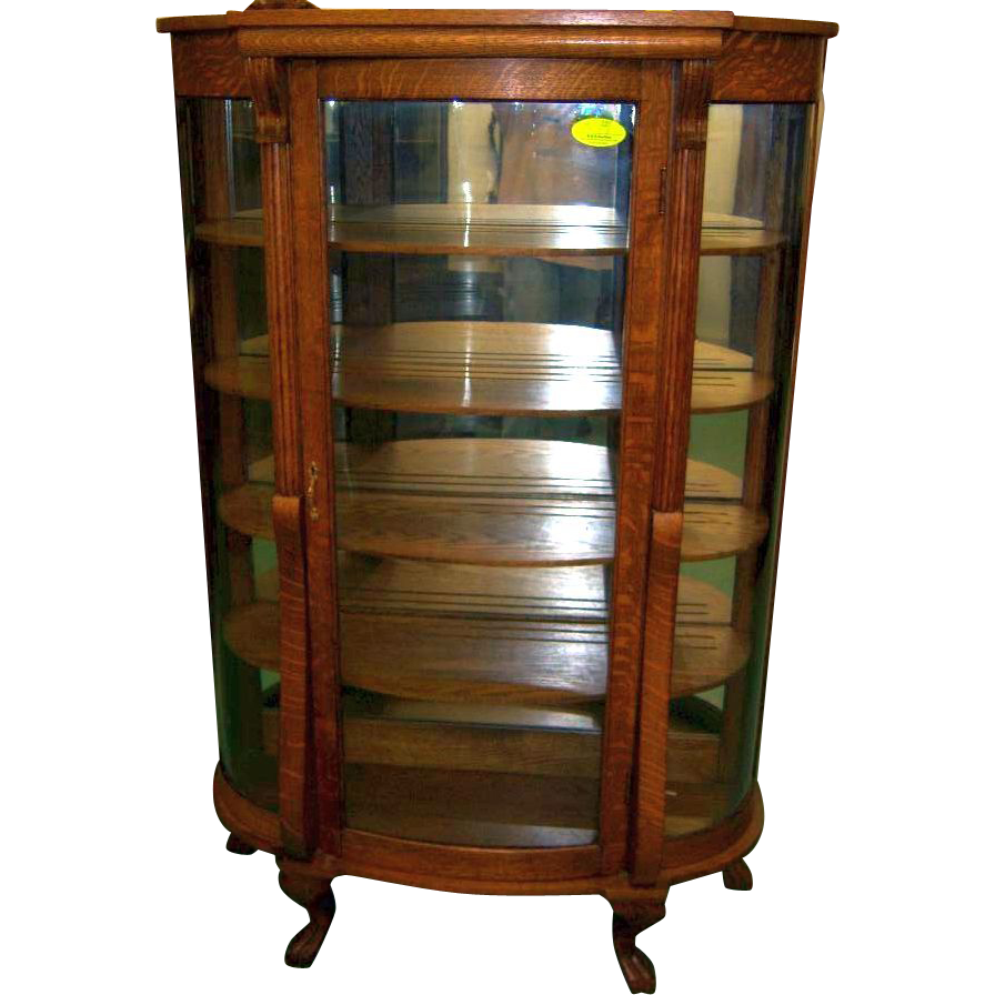 oak curved glass china or curio cabinet from. Black Bedroom Furniture Sets. Home Design Ideas