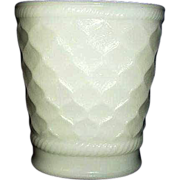 EO Brody Quilted Diamond Pattern Milk Glass Vase