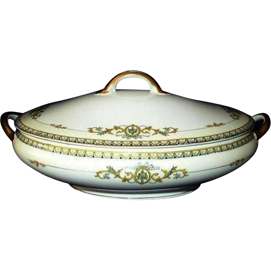 1920s Noritake Savona Pattern Covered Vegetable Bowl Japan