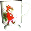 Vintage Christmas Lefton Exclusives Footed Cup ~ Little Girl With Holly