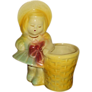 SALE Girl with Basket Figural Planter USA #534