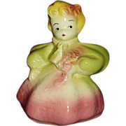 SALE Blonde Girl Figural Planter ~ Pink and Green Dress - MINT