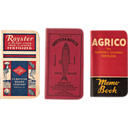 SALE 1940-50s Royster, AGRICO, and Griffith & Boyd Co. Farmer's Pocket Notebooks