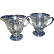 SALE Depression Glass Clear Footed Sugar and Creamer