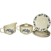 SALE Blue Onion - Blue Heritage Look-A-Likes - Creamer, Sugar, Saucers