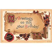 SALE 1912 Embossed Birthday Post Card ~ Parchment Scroll and Vintage Books