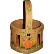 SALE Handpainted Small Round Basket with Pumpkins & Vines