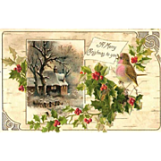 SALE 1908 Embossed Christmas Post Card - Snowy Woodland Cottage Scene