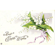 SALE 1920 Embossed Easter Greetings ~ Stecher Lithography Co. Post Card Series 523F