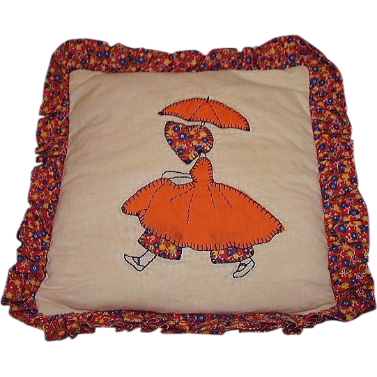 Girl w/ Parasol Quilt Pattern Pillow ~ Handmade Applique ~ Calico Ruffle