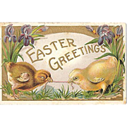 SALE 1910 Embossed Easter Chicks Post Card Series D No. 17