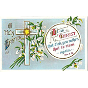 SALE 1911 Embossed Easter Cross Post Card