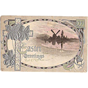 SALE 1911 Embossed Easter Post Card with Windmill