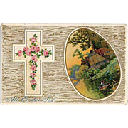 SALE 1911 Embossed Easter Cross Post Card with Boating Scene