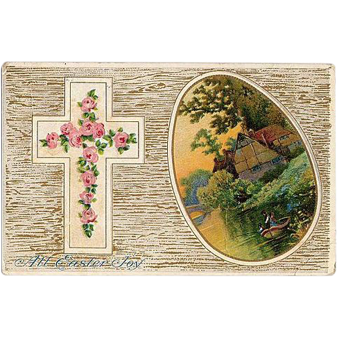 1911 Embossed Easter Cross Post Card with Boating Scene