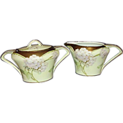 SALE 1920s Art Deco German Porcelain Sugar Creamer Set 18K Handpainted Signed
