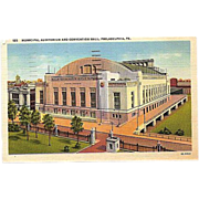 SALE 1948 Curteich Linen Postcard ~ Philadelphia  Municipal Auditorium and Convention Hall
