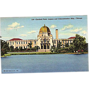 SALE 1943 Curteich Linen Postcard ~ Chicago Garfield Park, Lagoon and Administration Building