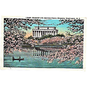 SALE 1927 Lincoln Memorial Washington, DC ~ Japanese Cherry Blossoms