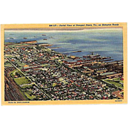 SALE 1947 Curteich Linen Postcard ~ Aerial View of Newport News, VA on Hampton Roads