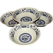 SALE Blue Onion - Blue Heritage Look-A-Likes - 4 Bowl Set  - Japan