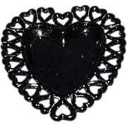 SALE Black Glass Heart Edge Heart Shaped Dish