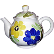 SALE Delightful Enesco Tea Pot, White with Blue and Yellow Flowers, Japan