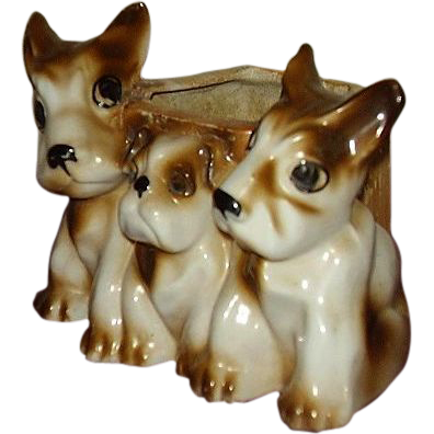 Three Scottie Dogs Planter, Japan Lusterware