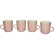 SALE Pink Stoneware Mugs, Set of 4  Made in Japan
