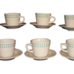 Homer Laughlin Best China Restaurant Ware  Cup Saucer Sets ~Turquoise Designs