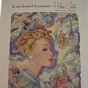 SALE Vintage HELENE CURTIS Professional Hair Perm Ad ~ June 1952 Woman's Home Companion