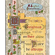 SALE 1911 Christmas Embossed Gold Postcard