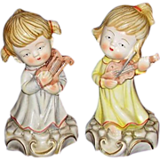 SALE Porcelain Angelic Girl Figurines Playing Musical Instruments ~ Beautiful!