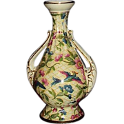 SALE Balmoral Transferware Double Handle Footed Bud Vase Exotic Birds Gold Trim