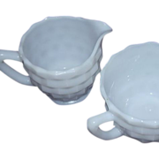 SALE Jeannette Glass White Cube Open Sugar and Creamer Set