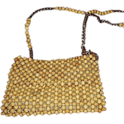 SALE 1960s Wooden Bead Shoulder Bag Purse Gold Tone Chain and Bead Strap - Made In Japan