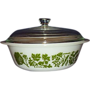 SALE Glasbake &quot;Garden Herb&quot; 2 Quart Covered Casserole Dish