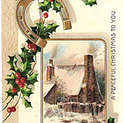 SALE 1909 Embossed Christmas Post Card - Gold Horseshoe