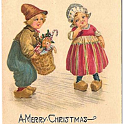 SALE 1925 Christmas Postcard with Dutch Boy and Girl