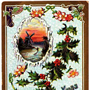 SALE 1911 Embossed Christmas Post Card ~ Germany Trademark 2085